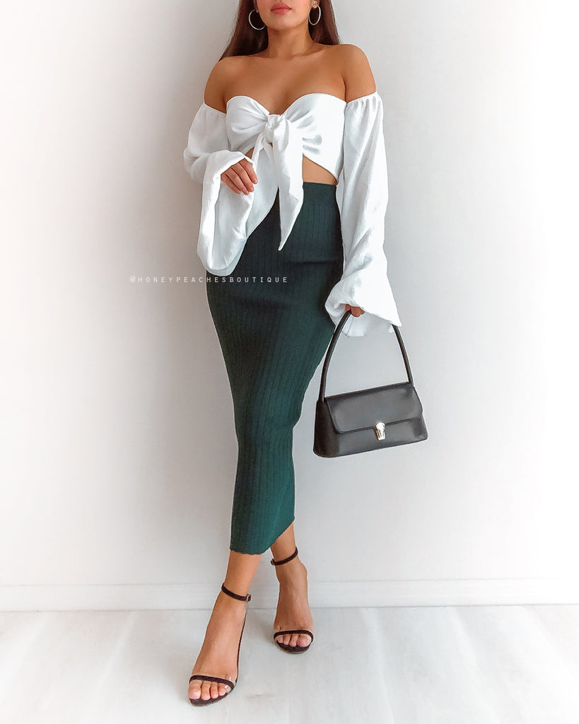 Tatum Knit Midi Skirt - Emerald Green