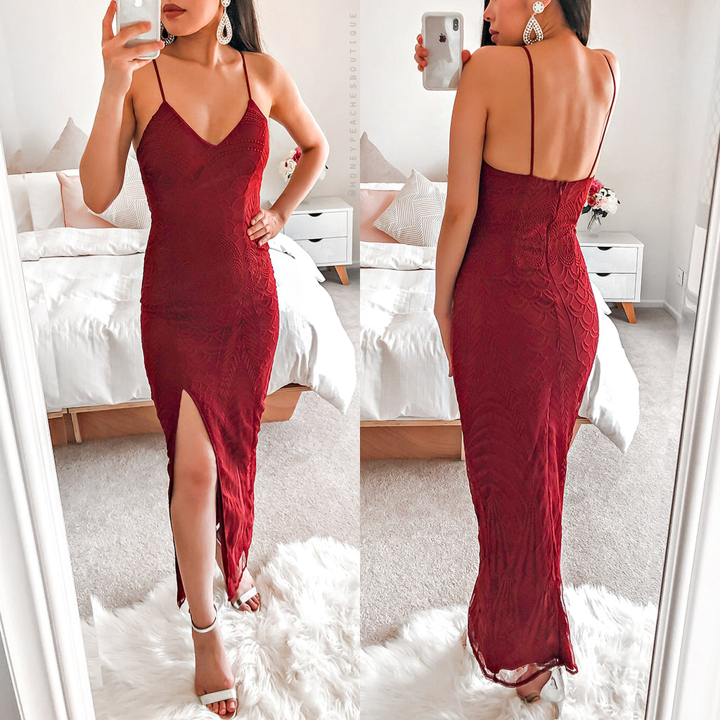 971975dde5b3 Kelly Maxi Dress - Maroon – Honey Peaches