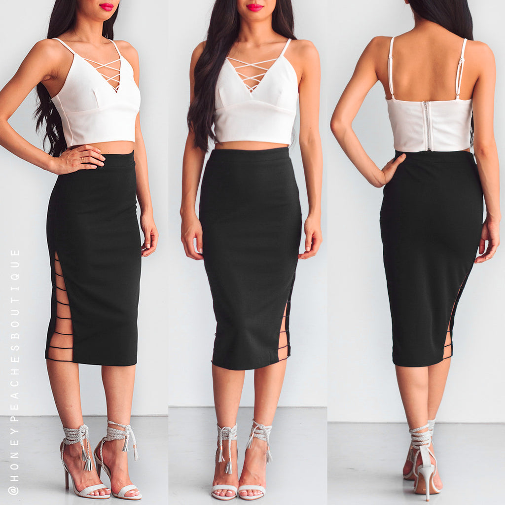 Fake Love Midi Skirt - Black