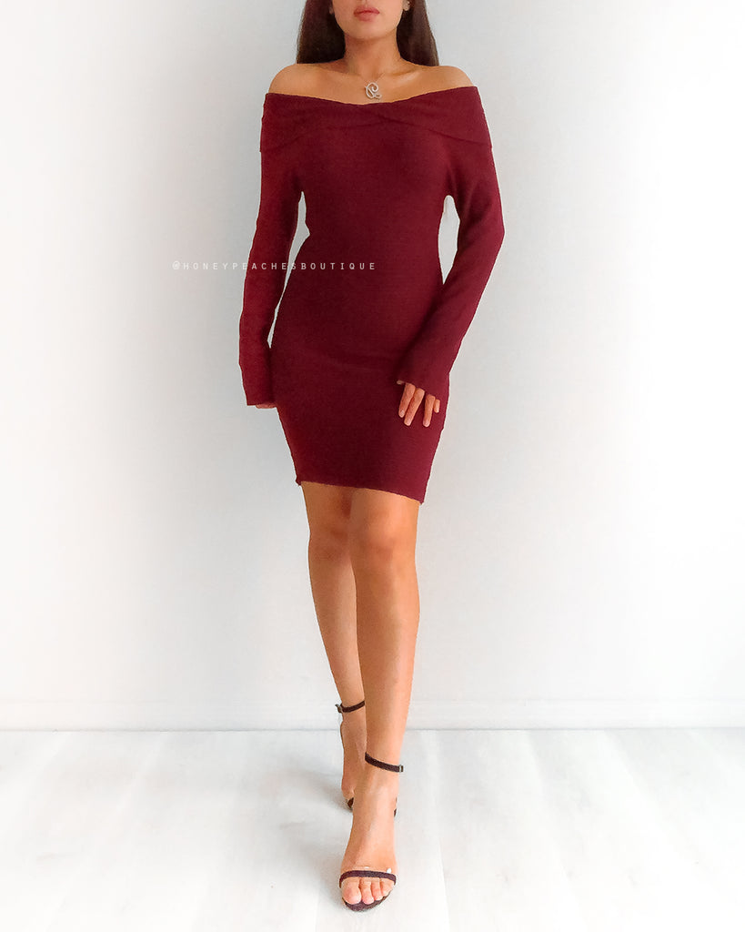 Audrey Off Shoulder Knit Dress - Maroon