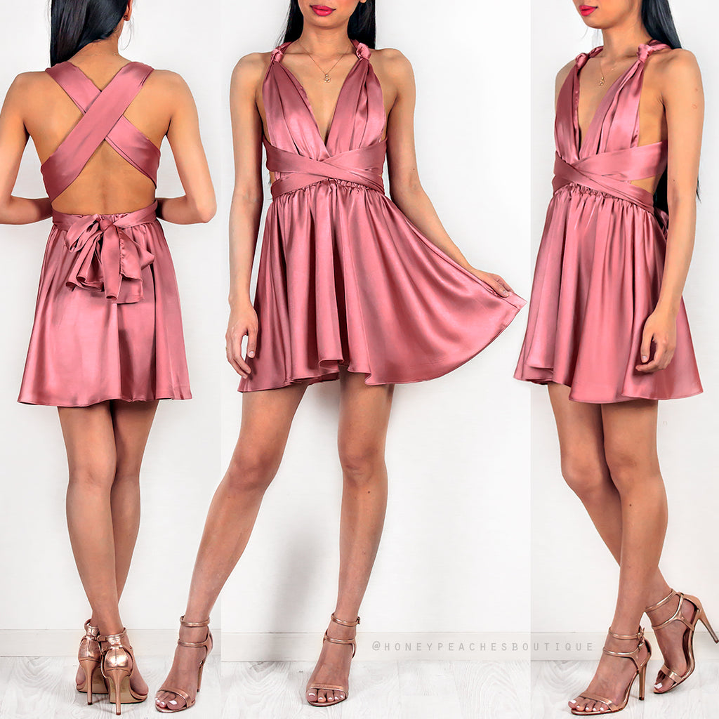 Cinta Multi Way Dress - Rose Satin