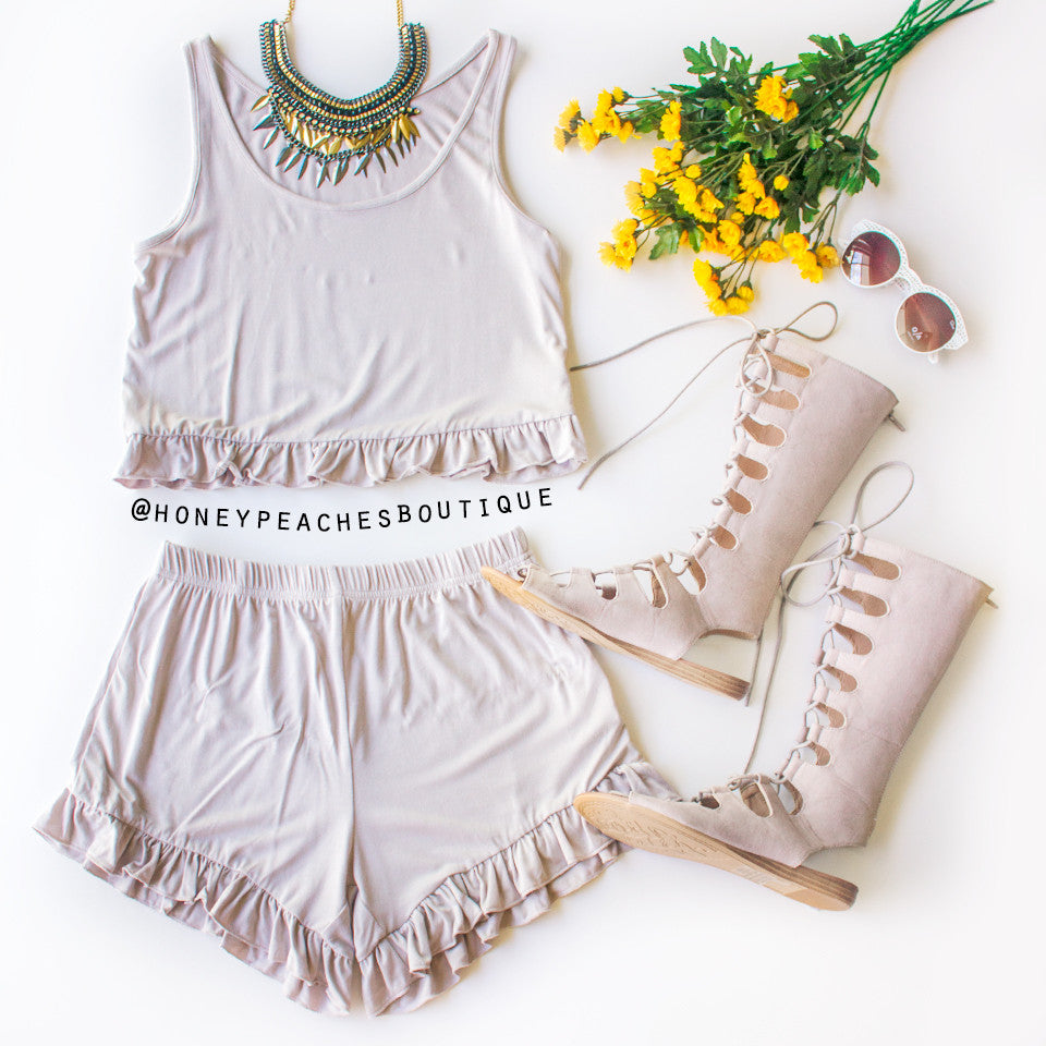 This Is It Frill Two Piece Set - Grey