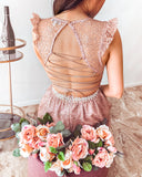 Abigail Glitter Maxi Dress - Rose Gold