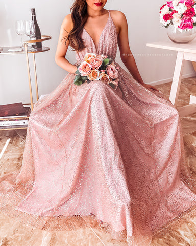 Monique Glitter Maxi Dress - Blush Rose Gold