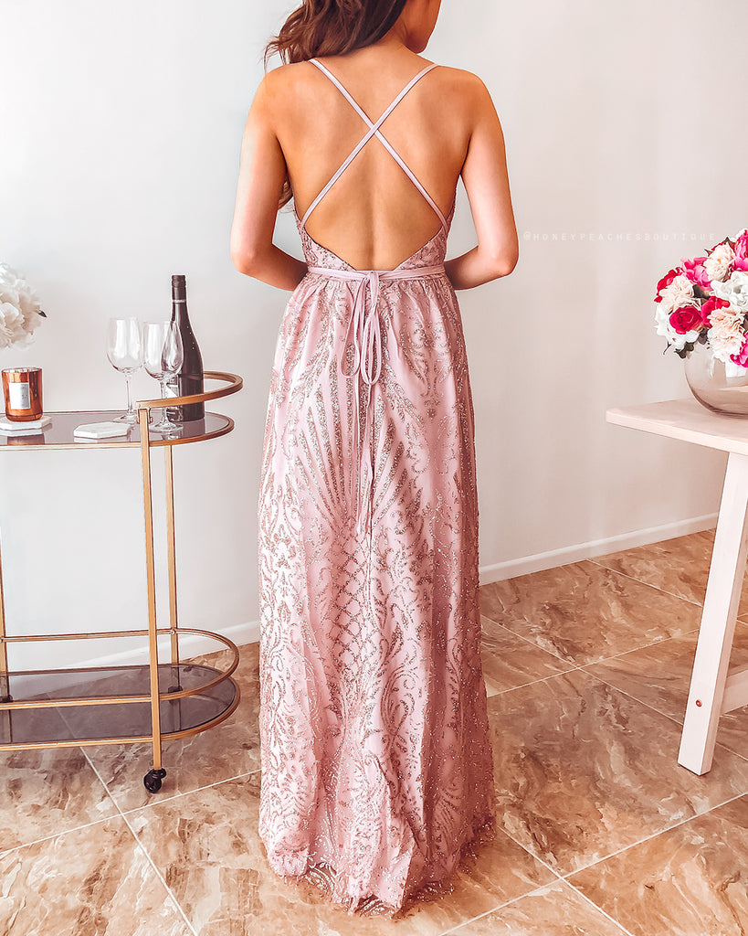 Clara Glitter Maxi Dress - Rose Gold