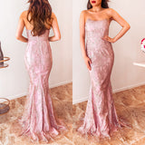 Leah Glitter Maxi Dress - Blush Rose Gold