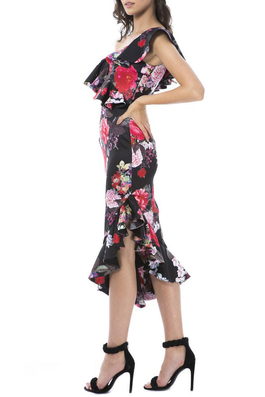 Alessandra Midi Dress - Black Floral