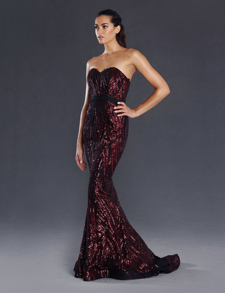 Made To Order: Allegra Strapless Sequin Gown by Jadore