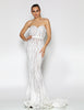 Allegra Strapless Sequin Gown by Jadore - Ivory/Nude
