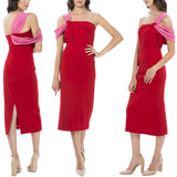 Angelica Midi Dress - Red/Pink