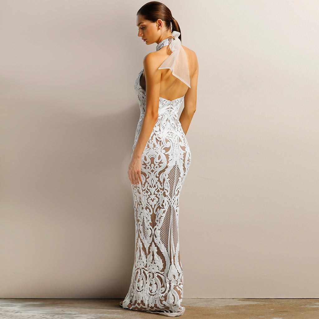 Aphrodite Sequin Gown by Jadore - Ivory/Nude