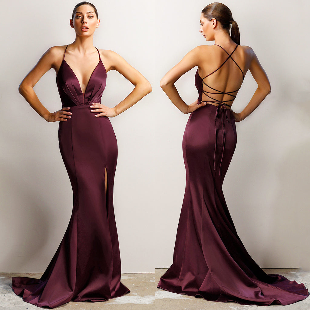 c51c640f68 Athena Gown by Jadore - Deep Burgundy – Honey Peaches
