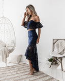 Celine Two Piece Dress Set - Navy