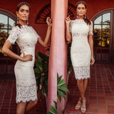 Dylan Lace Midi Dress - Cream