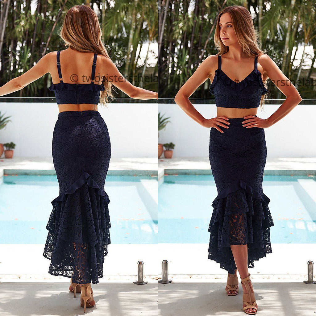 Eva Two Piece Dress Set - Navy