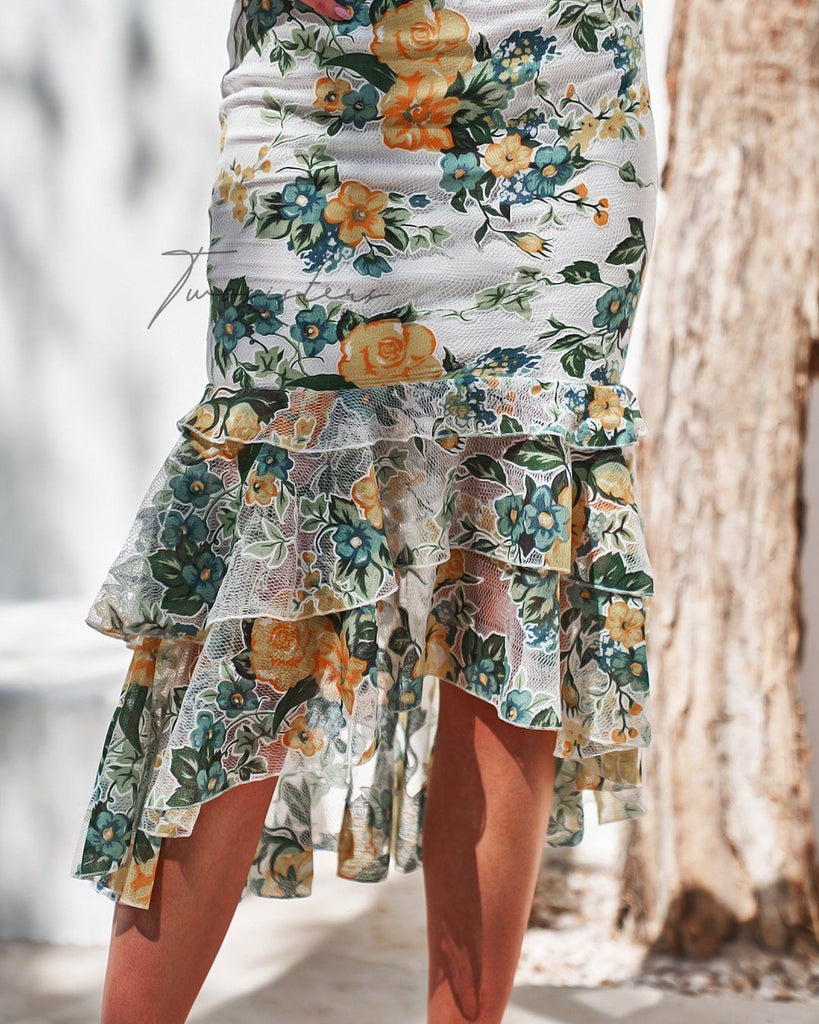 Evaliah Dress - Yellow Floral