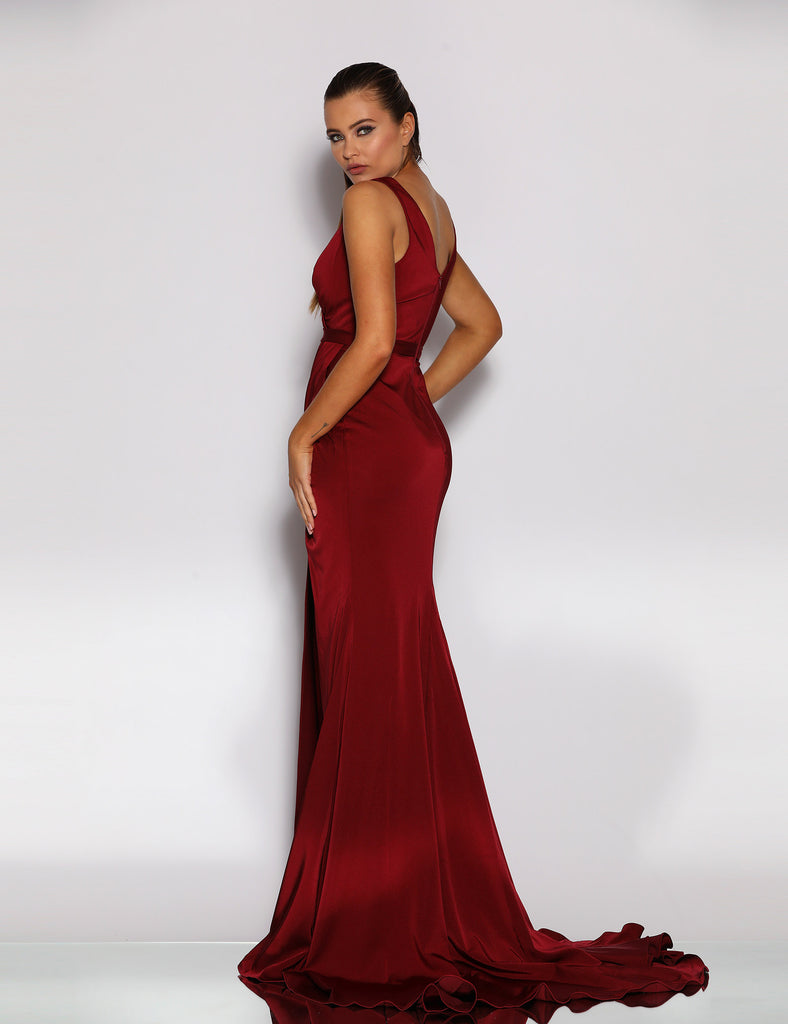Giana Drape Gown by Jadore - Maroon
