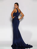 Giana Drape Gown by Jadore - Navy