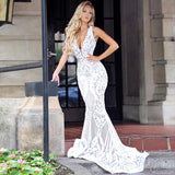 Giselle Sequin Gown by Jadore - Ivory/Nude