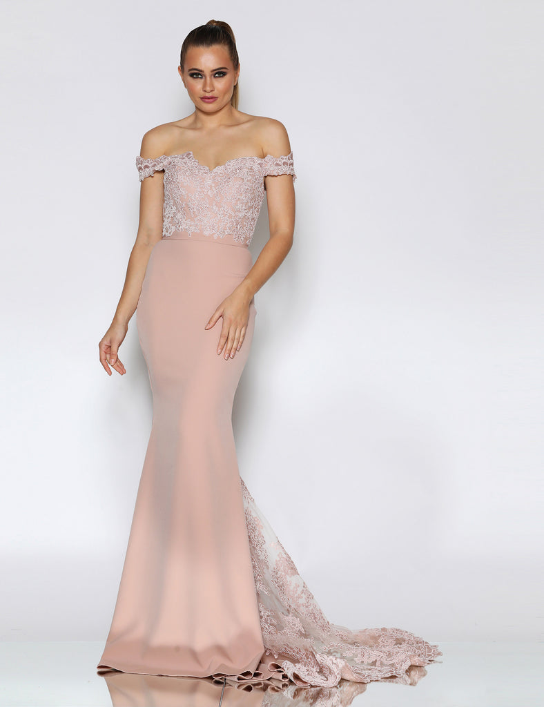 Isadora Lace Gown by Jadore - Latte