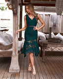 Ivory Dress - Emerald Green
