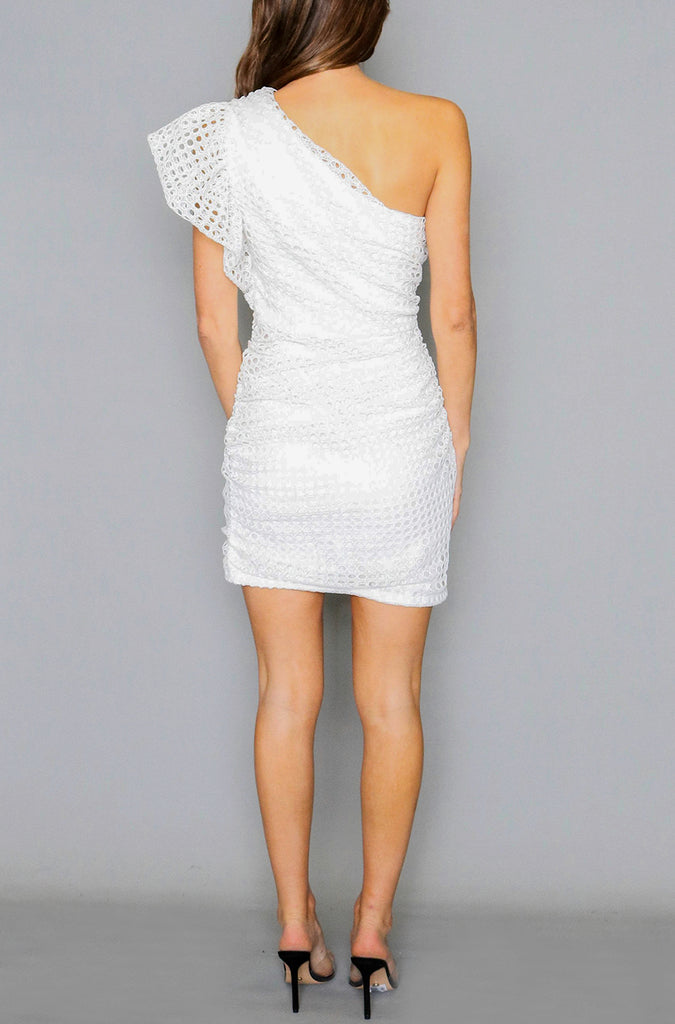 Jade Frill Dress - White