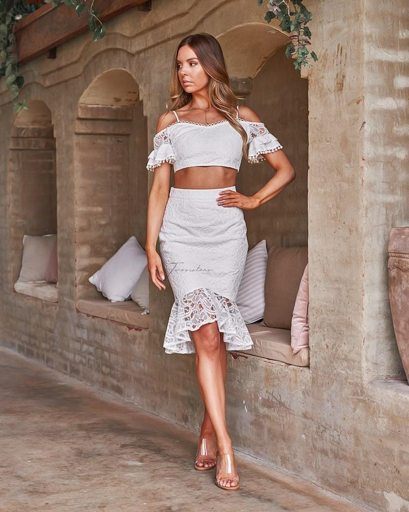 Janine Two Piece Dress Set - White
