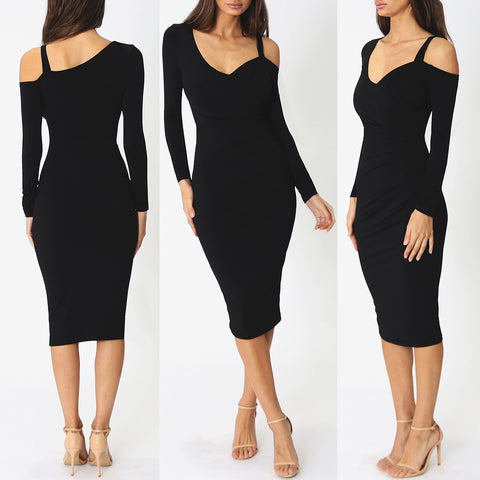 Polly Midi Dress - Black