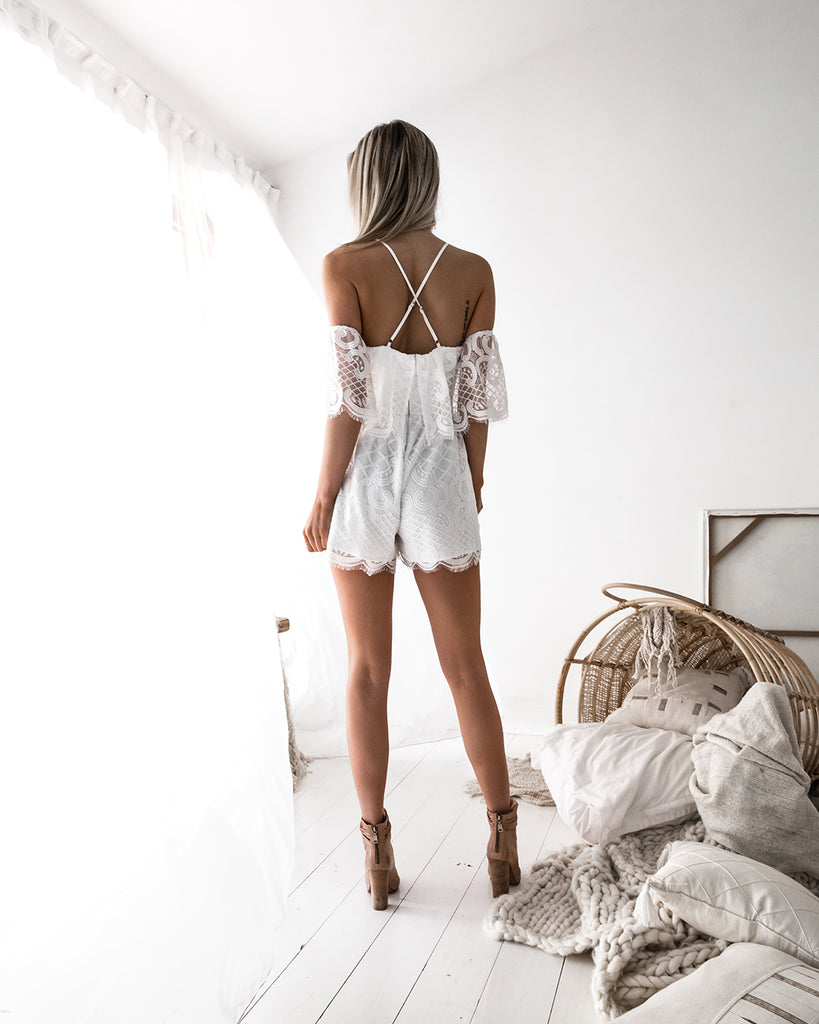 Kylie Lace Playsuit - White