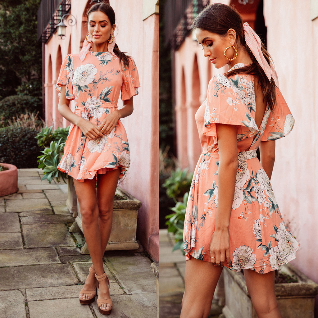 Lilian Mini Dress - Peach Print
