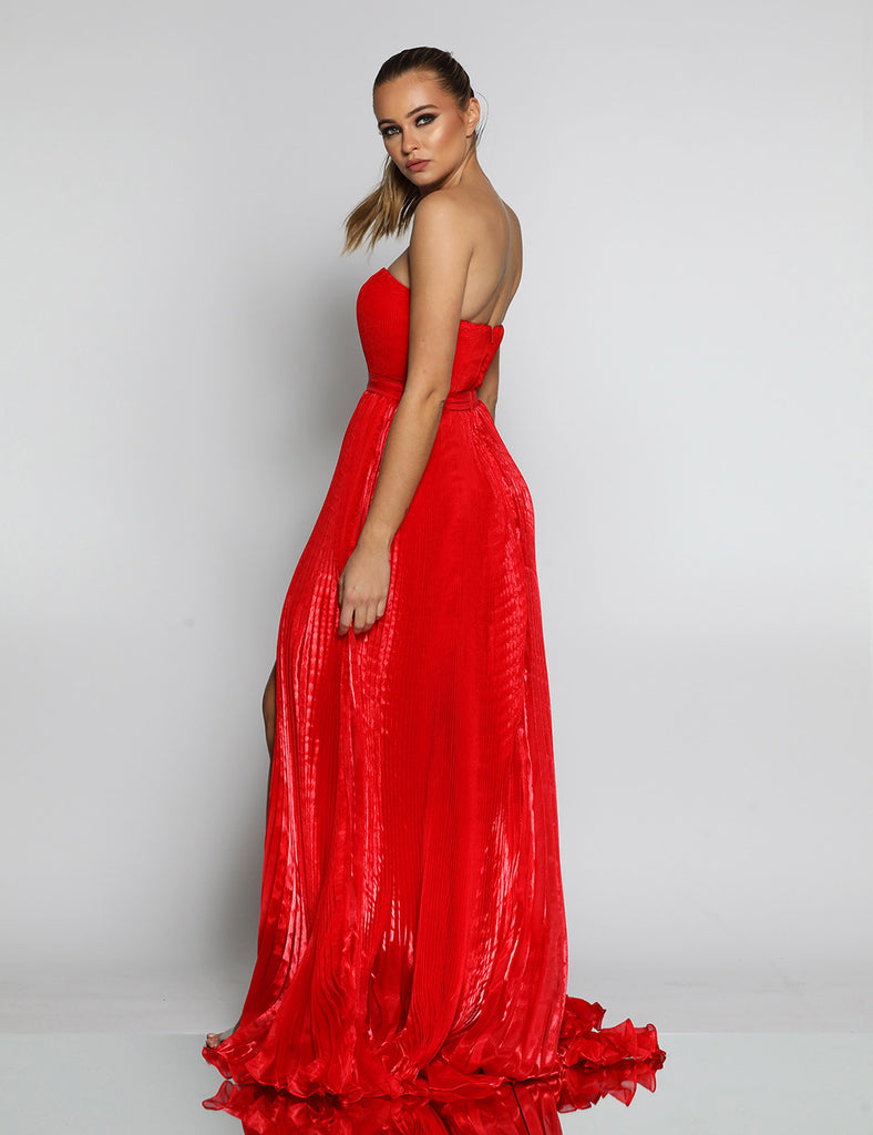 Maya Pleated Gown by Jadore - Red