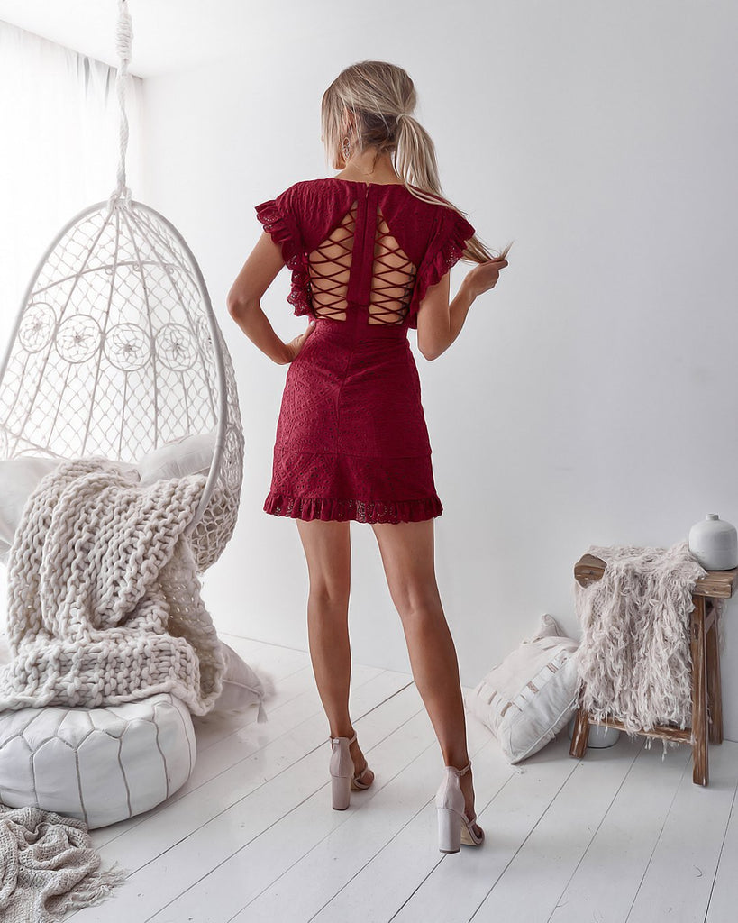 Mira Dress - Maroon