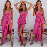 Natasha Midi Dress - Fuchsia
