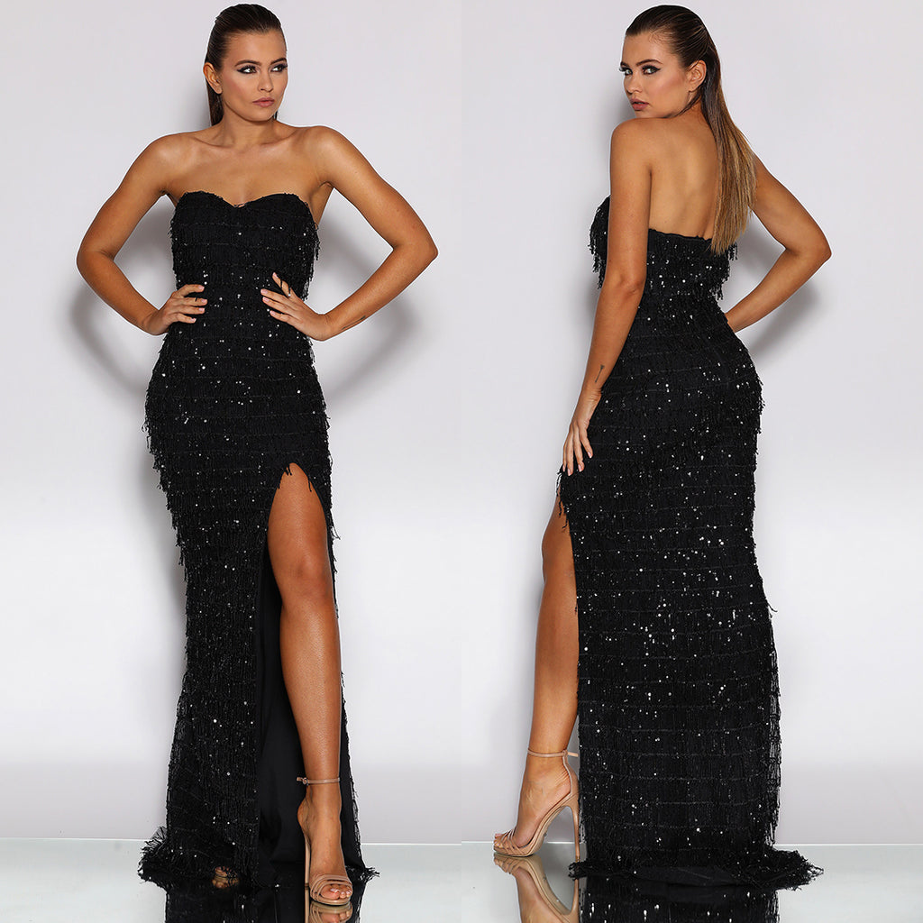 Omaira Sequin Gown by Jadore - Black