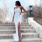 Omaira Sequin Gown by Jadore - Ivory