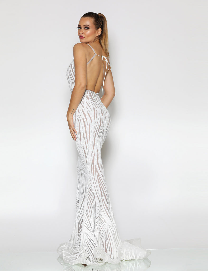 Ophelia Sequin Gown by Jadore - Ivory/Nude