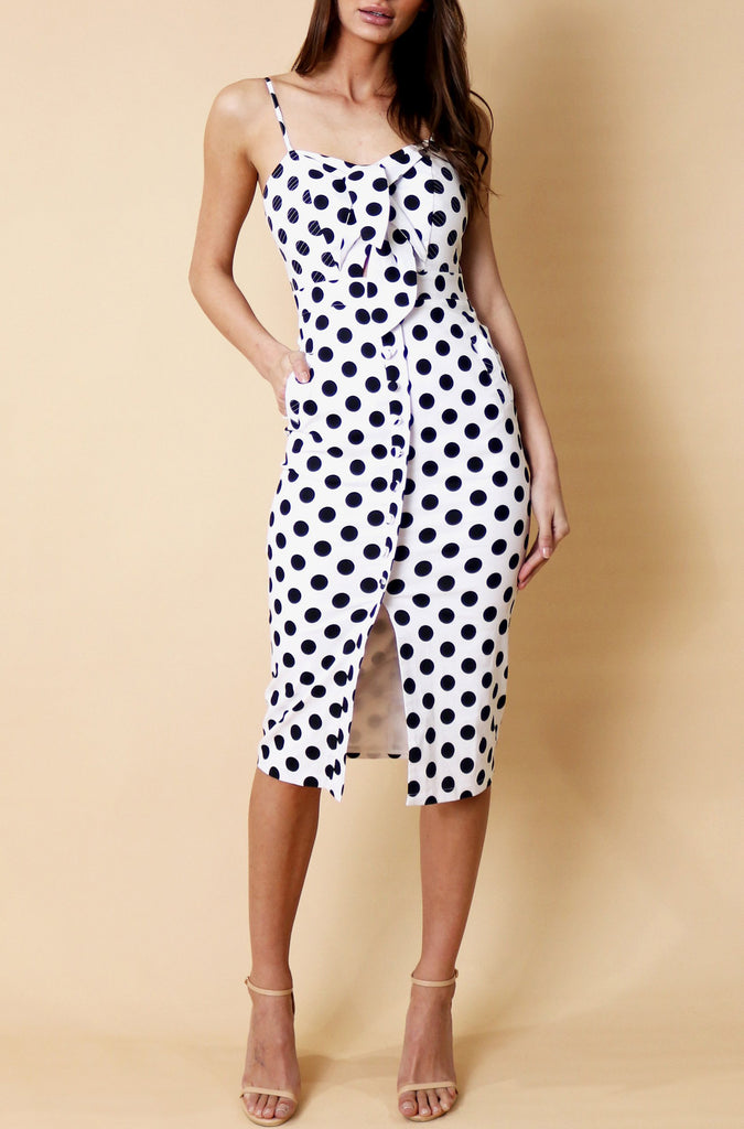 Peta Midi Dress - White Polka Dot