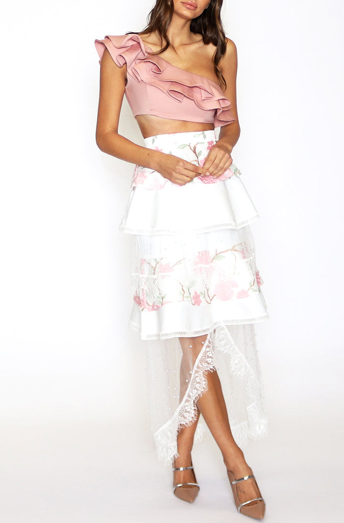 Miranda Frill Layered Skirt - White Floral
