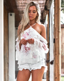 Poppy Top - White Floral