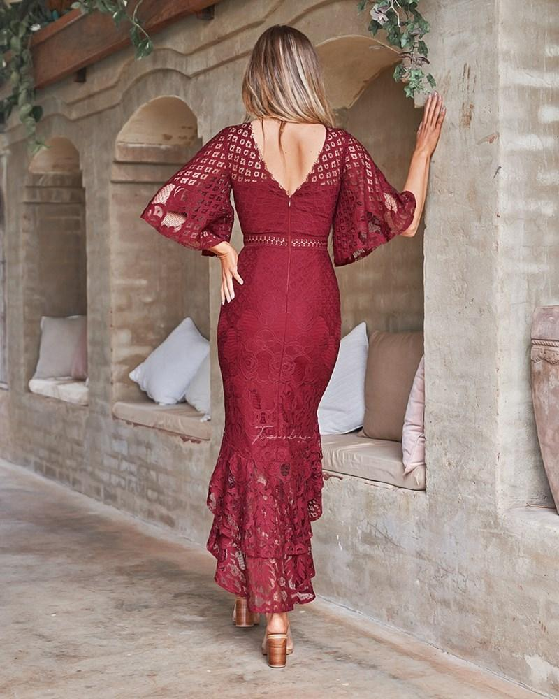 Reyna Dress - Maroon