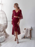 Rylie Two Piece Dress Set - Maroon
