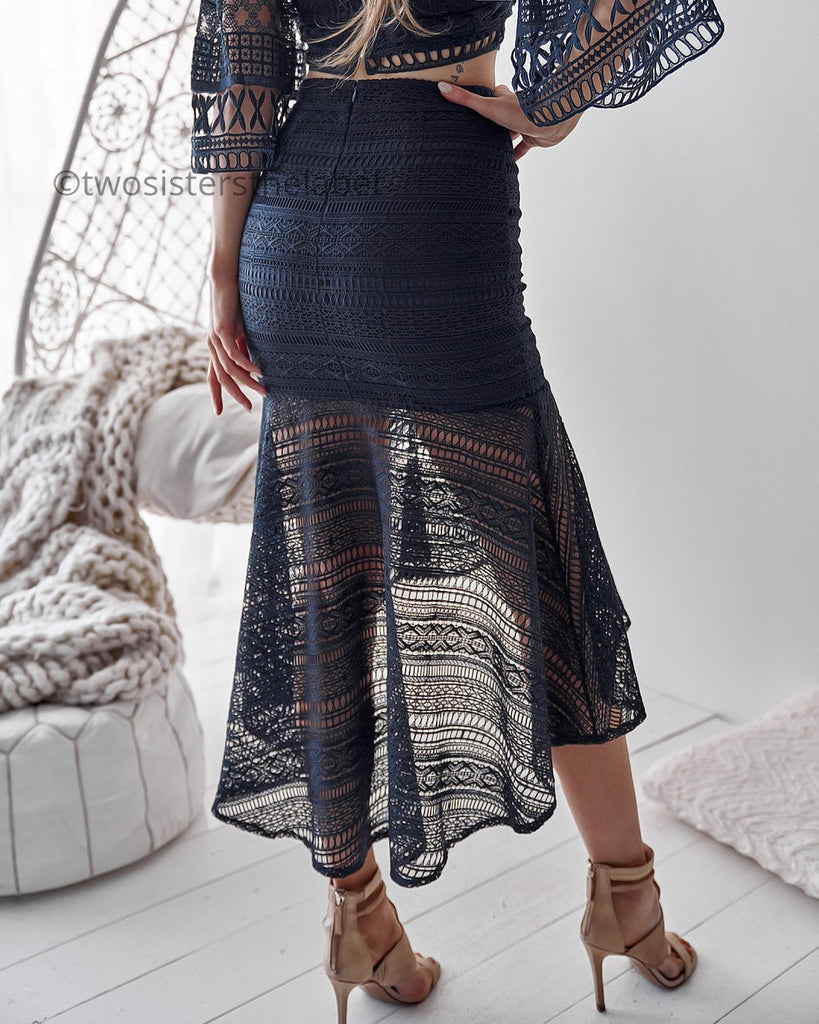 Pre-Order: Rylie Two Piece Dress Set - Navy