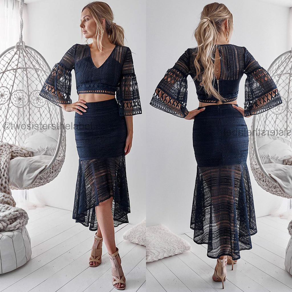 Rylie Two Piece Dress Set - Navy