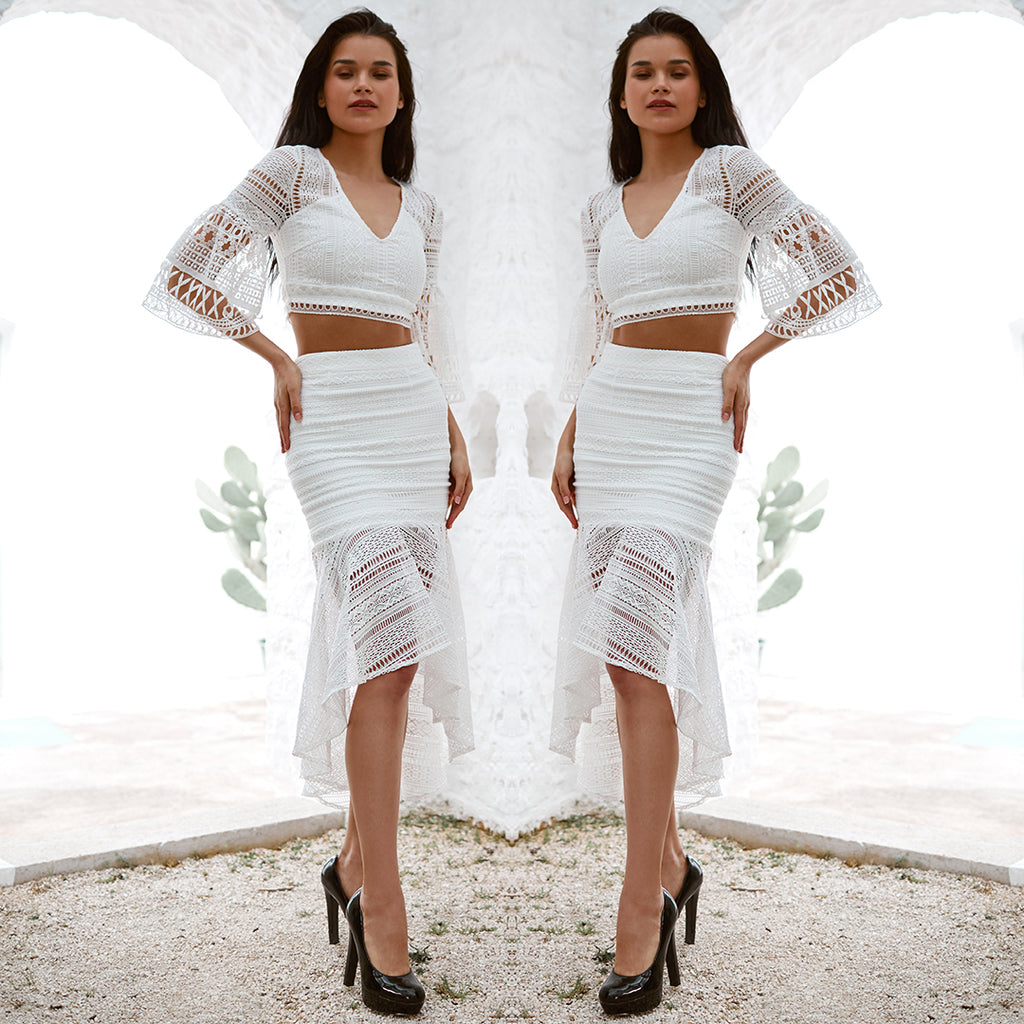 Rylie Two Piece Dress Set - White