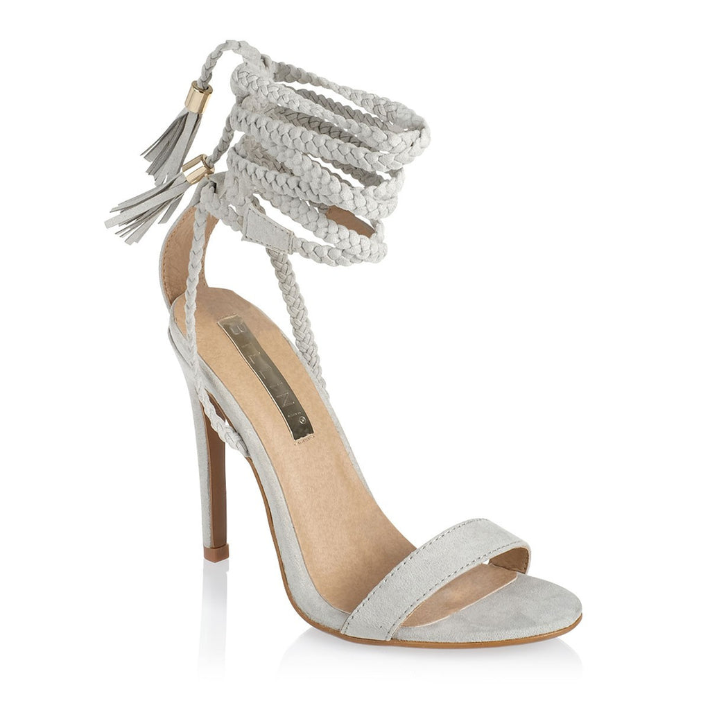 Sable Light Grey Suede Heels by Billini