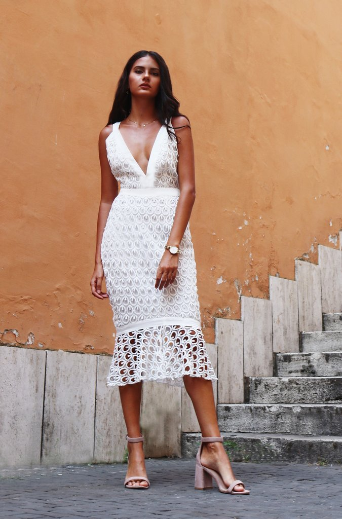 Pre-Order: Salerno Midi Dress - White
