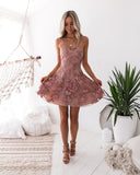 Sassy Embroidery Dress - Dusty Blush