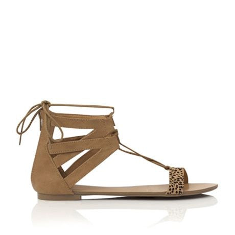 Mariah Tan Spot Pony Sandals by Billini