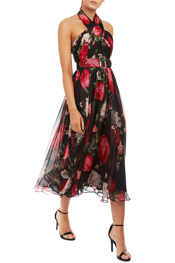 Victoria Dress by Georgy Collection - Black Floral