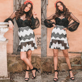 Antoinette Lace Skirt - Black/White